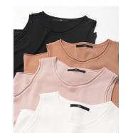 image of  捲邊設計針織無袖背心 四色售 Cuffed Design Knit Sleeveless Vest Four Colors