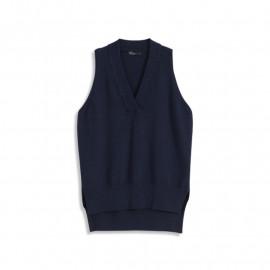 image of 純色V領針織背心 三色售 Solid Color V-Neck Knit Vest Three Colors