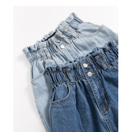 image of 休閒花苞造型高腰牛仔褲 兩色售 Casual Flower Shape High Waist Jeans Two Colors