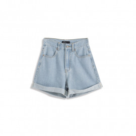image of 基本休閒百搭下反褶牛仔短褲 Basic Casual Versatile Pleated Denim Shorts