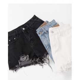 image of 下鬚邊牛仔短褲 三色售 Bottom Denim Shorts Three Colors