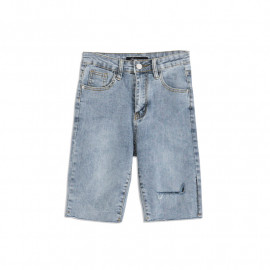 image of 抓破牛仔五分褲 Scratching Denim Pants