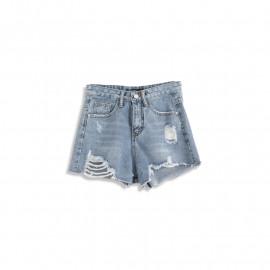 image of 淺色刷破牛仔短褲 Light Brushed Denim Shorts