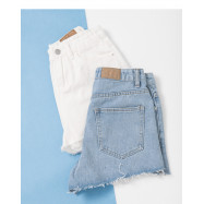 image of 鬚邊造型牛仔短褲 兩色售 Must-Have Denim Shorts Two Colors