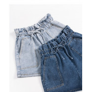 image of 復古高腰綁帶牛仔短褲 兩色售 Vintage High Waist Strap Denim Shorts Two Colors