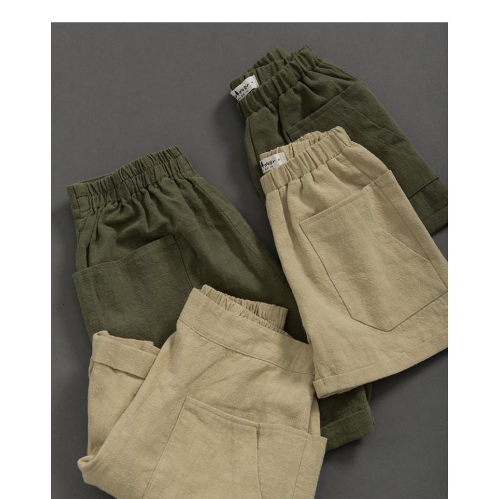 童裝 親子系列口袋棉麻短褲 兩色售 Children's Wear, Parent-Child Series Pocket Cotton And Linen Shorts Two Colors