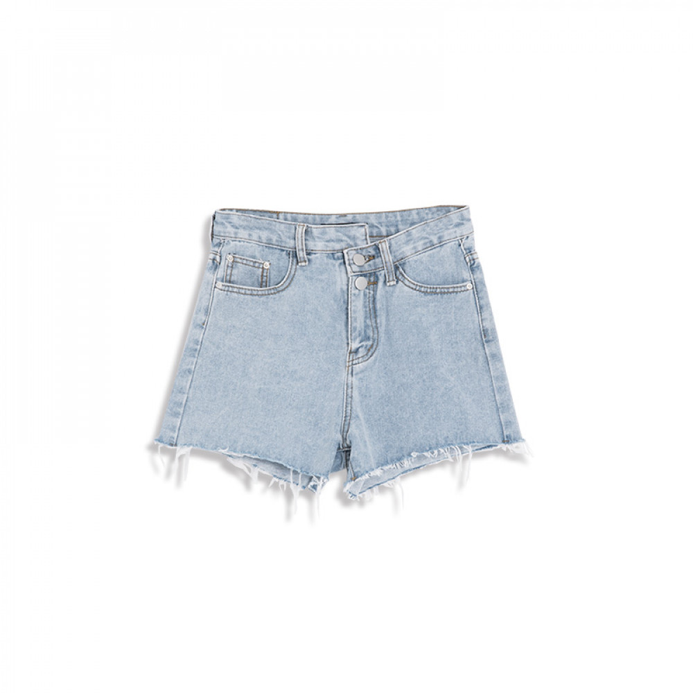 不對稱釦造型牛仔短褲 Asymmetrical Buckle Shape Denim Shorts