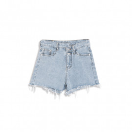 image of 不對稱釦造型牛仔短褲 Asymmetrical Buckle Shape Denim Shorts