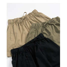 image of 鬆緊抽繩設計棉麻短褲 三色售 Elastic Drawstring Design Cotton And Linen Shorts Three Colors