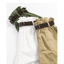 image of 附皮帶花苞造型短褲 三色售 Belted Flower Placket Style Shorts Three Colors