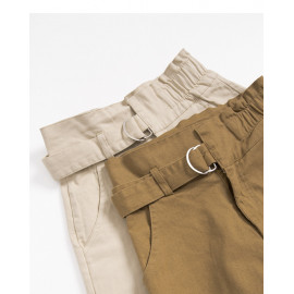 image of 釦環設計高腰短褲 兩色售 Buckle Design High Waist Shorts Two Colors