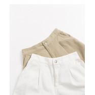 image of 素面銀釦後鬆緊短褲 兩色售 Plain Silver Buckle Elastic Shorts Two Colors
