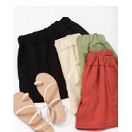 image of 夏日色系鬆緊腰棉麻短褲 四色售 Summer Color Elastic Waist And otton Shorts Four Colors
