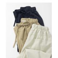 image of 基本素面鬆緊腰抽繩長褲 三色售 Basic Plain Elastic Waist Drawstring Trousers Three Colors