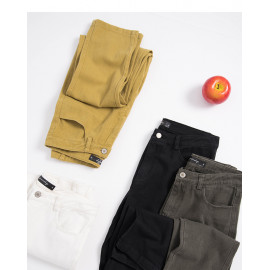 image of 基本款素面斜紋長褲 四色售 Basic Style Plain Twill Trousers Four Colors