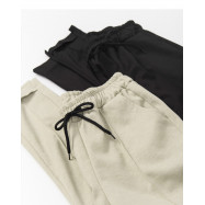 image of 綁帶車線休閒褲 兩色售 Lace-Up Line Casual Pants Two Colors
