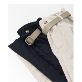 image of 休閒素色後鬆緊腰棉麻長褲附腰帶 兩色售 Casual Plain Color Elastic Waist And Cotton Trousers With Belts Two Colors