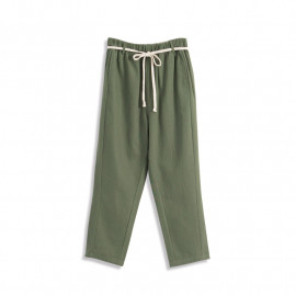 image of 腰頭配色抽繩棉麻長褲附腰帶 Waist Color Matching Drawstring Cotton Trousers With Belt
