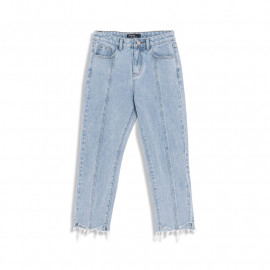 image of 下腳鬚邊車線造型牛仔褲 Feet-Lined Jeans With Lower Feet
