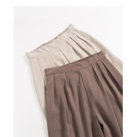 image of 簡約素色後鬆緊雪紡寬褲 兩色售 Simple Plain Elasticated Chiffon Wide Pants Two Colors