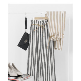 image of 配色條紋腰綁帶棉麻長褲 兩色售 Color Stripe Waistband Cotton And Linen Trousers Two Colors