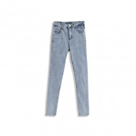 image of 下腳鬚邊刷色窄管牛仔褲 Brushed Narrow Tube Jeans With Lower Feet