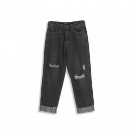 image of 個性刷破下反褶牛仔褲 Personalized Brush Broken Pleated Jeans