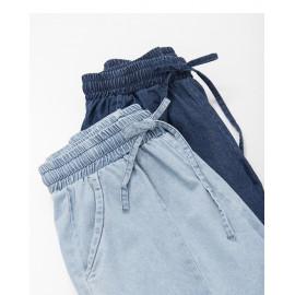 image of 造型綁帶牛仔AB褲 兩色售 Styling Tie Denim AB Pants Two Colors