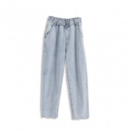image of 造型單釦雪花牛仔褲 Shaped Single Buckle Snowflake Jeans