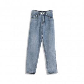 image of 復古刷白直筒九分牛仔褲 Retro Brushed White Straight Cropped Jeans