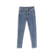 image of 休閒刷色彈力窄管牛仔褲 Casual Brushed Elastic Narrow Tube Jeans
