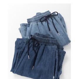 image of 休閒百搭落地牛仔寬褲 兩色售 Casual Wild Floor Denim Wide Pants Two Colors
