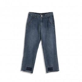 image of 鬚邊褲管不對襯牛仔褲 Unlined Denim Jeans