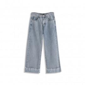 image of 刷白下反摺不收邊抽鬚造型牛仔褲 Brushed White Reflexed Jeans