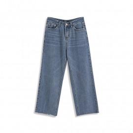 image of 下腳鬚邊設計牛仔長褲 Denim Trousers On The Lower Side