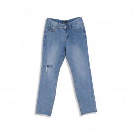 image of 膝破造型水洗牛仔褲 Knee-Breaking Washed Jeans