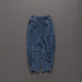 image of 下腳束口鈕釦造型鬆緊腰牛仔褲 Lower Leg Button Shape Elastic Waist Jeans