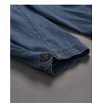 下腳束口鈕釦造型鬆緊腰牛仔褲 Lower Leg Button Shape Elastic Waist Jeans