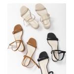 皮革低跟涼鞋 三色售 Leather Low Heel Sandals Three Colors