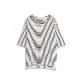 image of 基本黑白條紋七分袖長版上衣