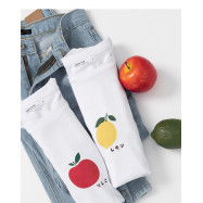 image of 日文字母水果印花圓領棉T 兩色售 Japanese Letter Fruit Print Round Neck Cotton T Two Colors