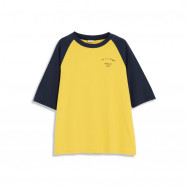 image of 撞色拚袖字母印花圓領棉T Contrast Color Sleeved Letter Printing Round Neck Cotton T