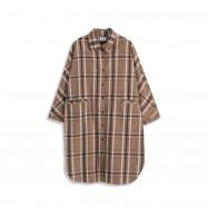 image of 雙口設計配色格紋長版襯衫 Double-Mouth Design Matching Plaid Long Shirt