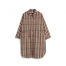 image of 雙口設計配色格紋長版襯衫 Double-Mouth Design Matching Plaid Long Shirt