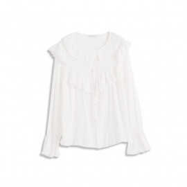 image of 浪漫雙層花邊荷葉上衣 Romantic Double Layer Lace Ruffle Top