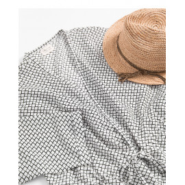 image of 抽繩設計小格紋雪紡罩衫 Drawstring Design Small Plaid Chiffon Blouse