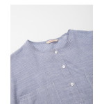 配色條紋雙口袋長袖棉麻上衣 Color Stripe Double Pocket Long Sleeve Cotton Top