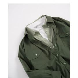 image of 基本素色雙口袋造型長袖襯衫 三色售 Basic Plain Double Pocket Style Long Sleeve Shirt Three-Colors