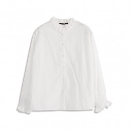 image of 菱形刺繡花邊領襯衫 Diamond Embroidered Lace Collar Shirt