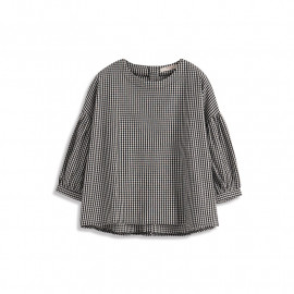 image of 小格紋蓬蓬袖上衣 Small Plaid Fluffy Sleeve Top